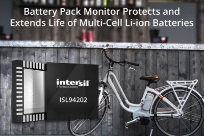 Intersil Releases New Battery Pack Monitor for Lithium-Ion Batteries