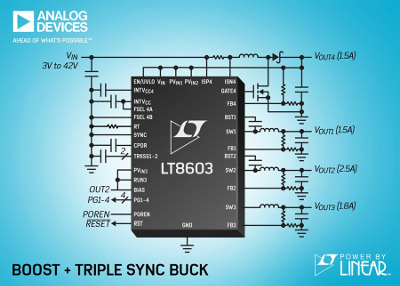 Linear Technology Releases 42V Synchronous Buck Converter & Boost Controller