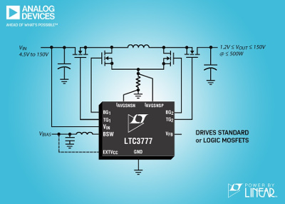 New 150VIN & VOUT Synchronous 4-Switch Buck-Boost Controller from Analog Devices