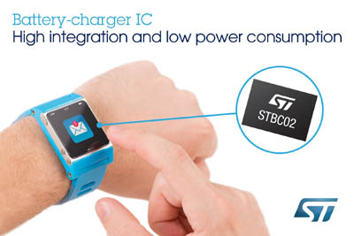 New Battery-Charger Chip from STMicroelectronics Reduces Cost and Time-to-Market for Wearable Applications