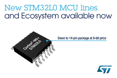 STMicroelectronics Releases New Range of STM32L0 Low-Power Microcontrollers