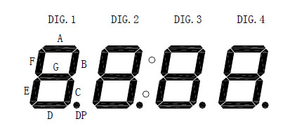 Four 7-Segment LED Display Dimension Diagram