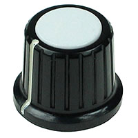 Large Black Plastic White Top Knob with Pointer
