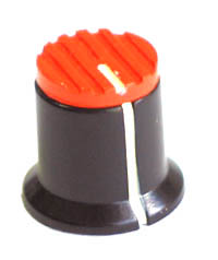 KNOB36 - Serrated Orange Plastic Red Top Knob