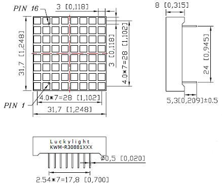 LEDMS88WH-CA - White Square 8x8 Common-Anode Led Matrix Display - Dimensions