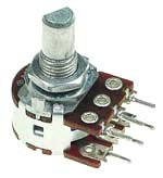 1/2W Dual Logarithmic Taper Potentiometers with D-Type Shaft