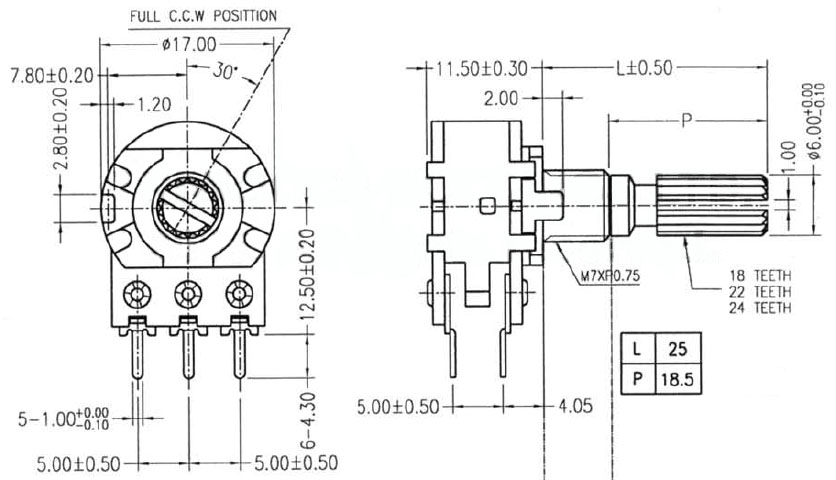 POT2KASWITCH - 2K Logarithmic Taper Potentiometer with Switch Dimensions
