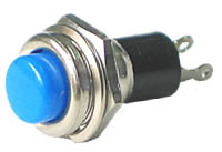 PRBLUE - SPST Round off-on BLUE Pushbutton