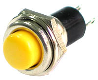 PRYLW - SPST Round off-on YELLOW Pushbutton