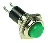 PRGRN - SPST Round off-on Green Pushbutton