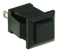 SPBLK - SPST Square off-on Black Pushbutton