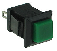 SPGRN - SPST Square off-on Green Pushbutton