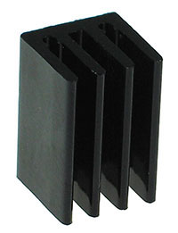 TO220SMBL - TO-220 Small Black Aluminium Heatsink with Back Fins